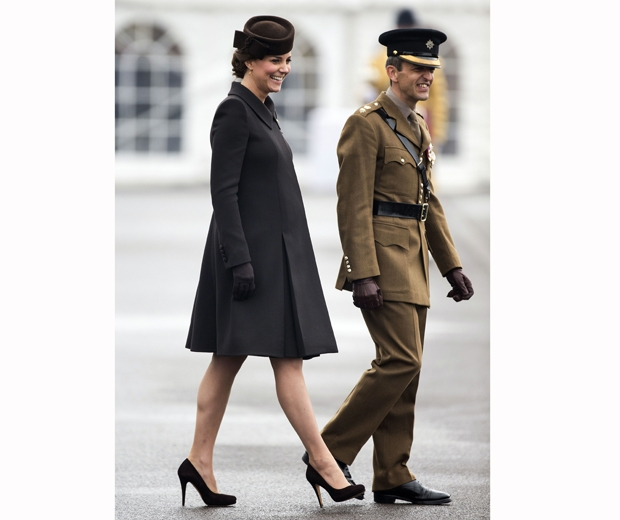 kate middleton in black coat and court shoes