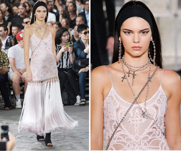 Kendall Jenner walking in the Paris Men's Fashion Week Givenchy show