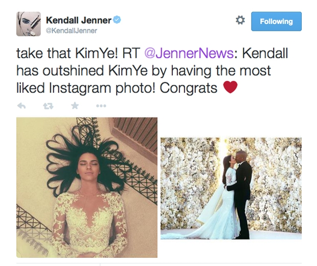 kendall jenner tweets Kim kardashian
