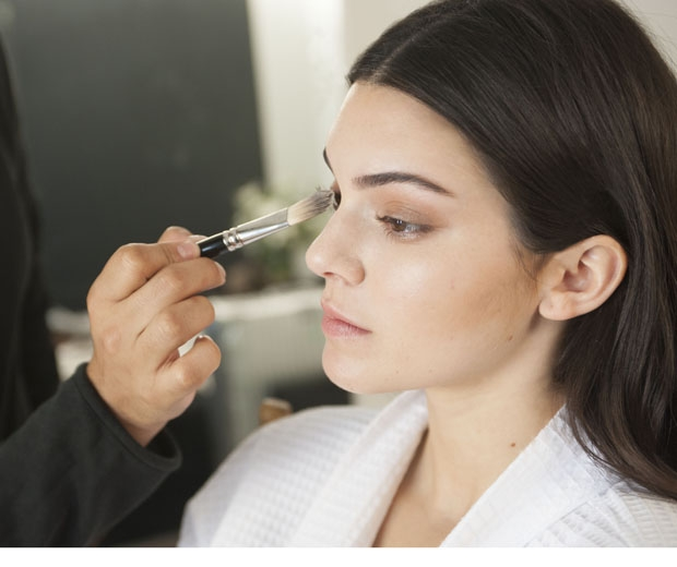 Kendall Jenner getting her makeup done