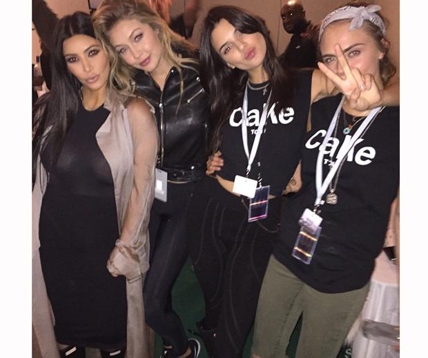 Kim Kardashian, Kendall Jenner, Gigi Hadid and Cara Delevingne glastonbury