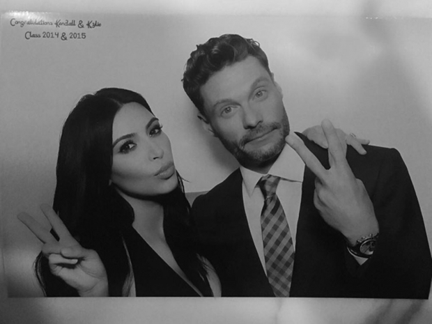 Kim Kardashian and Ryan Seacrest at Kylie and Kendall Jenner's graduation party