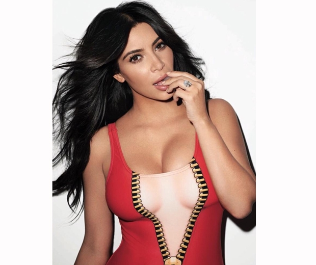 kim kardashian in a red moschino zip leotard for rolling stone