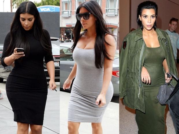 Kim Kardashian wearing tight-fitting maternity outfits