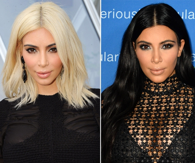 Kim Kardashian blonde to brunette