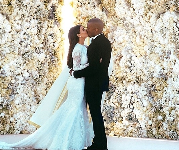 kim and kanye on wedding day most liked instagram photo
