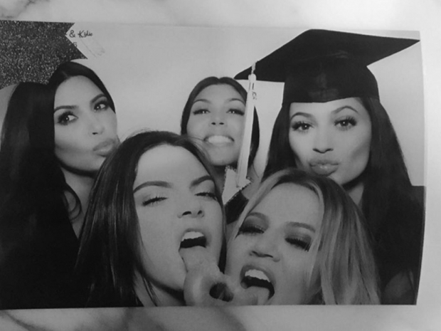 The Kardashian sisters at Kylie and Kendall Jenner's graduation party