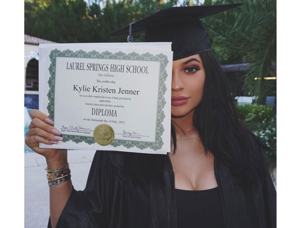 Kylie Jenner with her high school diploma
