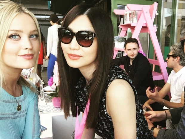 Laura Whitmore and Gemma Chan at Wimbledon in Instagram photo