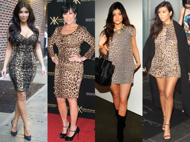 Kim Kardashian, Kris and Kylie Jenner and Kourtney Kardashian in leopard print