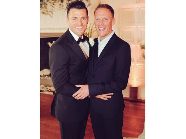 Mark Wright and Antony Cotton on Mark's wedding day