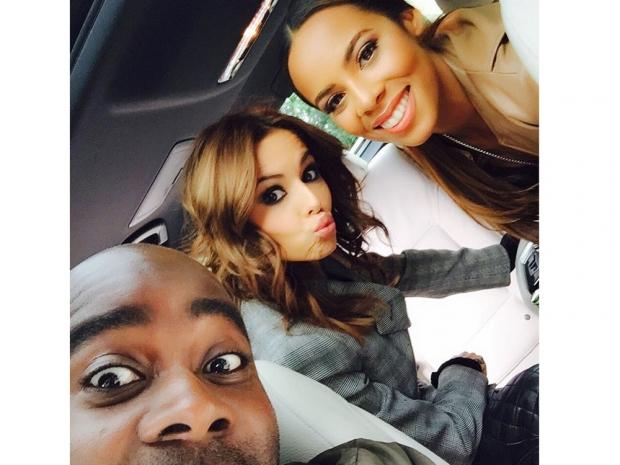 Melvin Odoom, Cheryl Fernandez-Versini and Rochelle Humes on The X Factor set