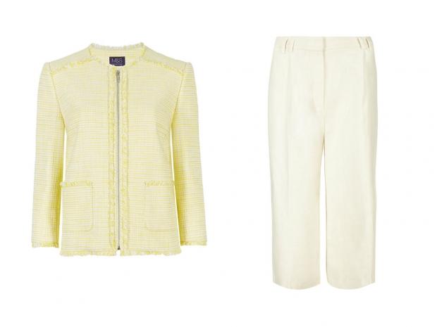 M&S Tweed Jacket, £59 & M&S Linen Culottes, £29.50