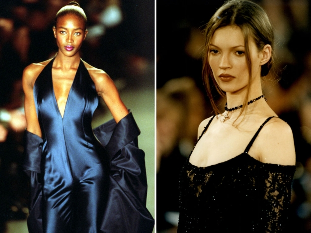 Naomi Campbell and Kate Moss modelling for DKNY in the 90s.