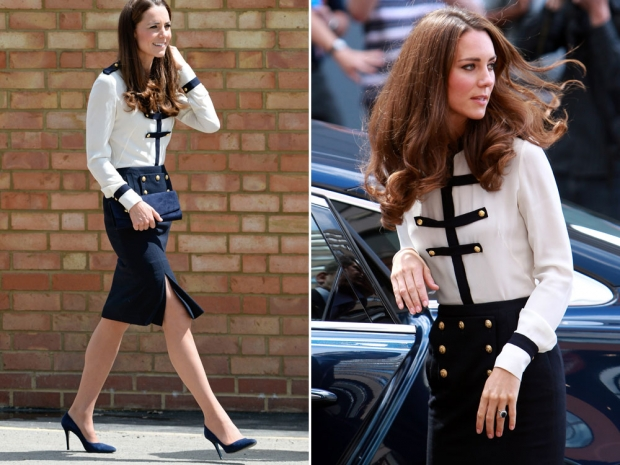 Kate Middleton recycling the same McQueen outfit in 2014 and 2011.