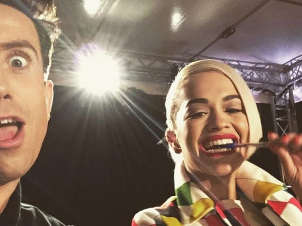 Nick Grimshaw and Rita Ora on The X Factor set