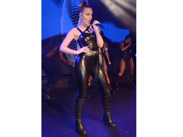 Perrie Edwards performs at London club G-A-Y in latex catsuit