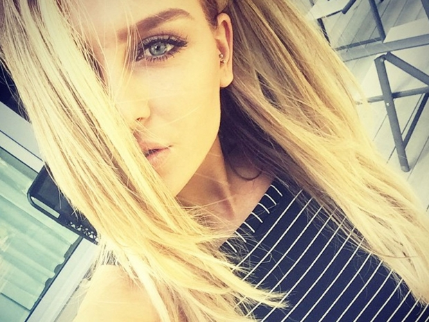 Perrie Edwards with new blonde hair on Instagram