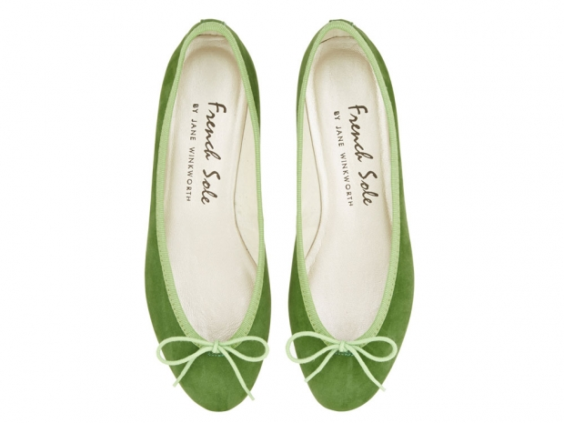 French Sole's green ballet pumps.