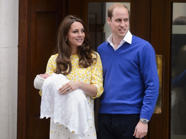 Princess Charlotte and her parents leaving the hospital when she was born.
