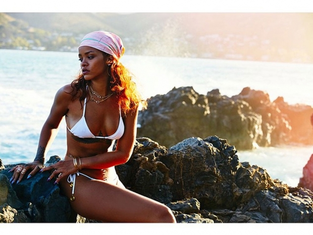 Rihanna on the beach.