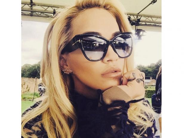 Rita Ora on The X Factor set