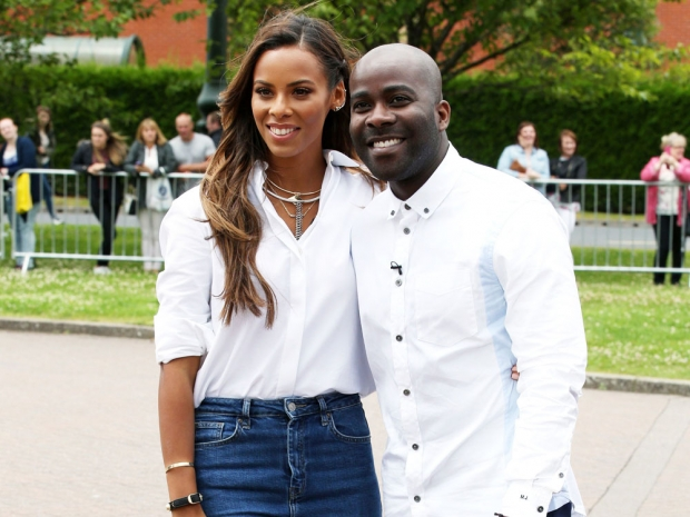 Rochelle Humes and Melvin Odoom wearing black at The X Factor auditions
