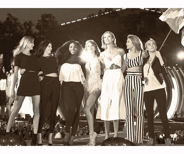 Taylor Swift with friends at her London BST gig