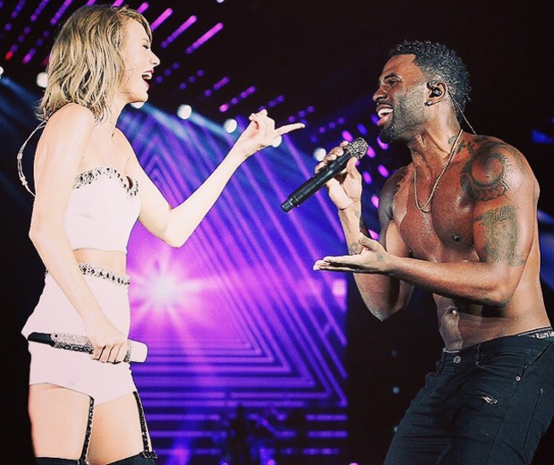 jason derulo and taylor swift on stage