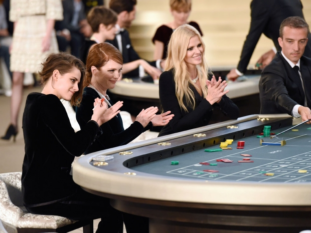 Kristen Stewart, Lara Stone and Julianne Moore at the roulette table.