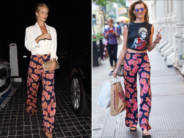 Rosie Huntington-Whiteley and Behati Prinsloo in the Testino trousers.