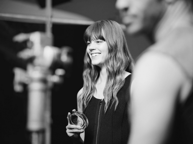 Freja Beha Erichsen backstage shooting the new Hugo Women campaign.