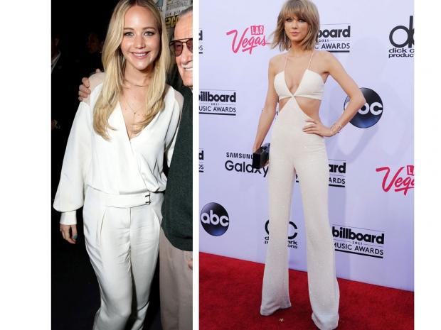 white jumpsuit, Jennifer Lawrence, Taylor Swift