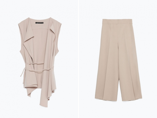 Zara Drawstring Waistcoat, £39.99 & Zara Cropped Trousers, £39.99