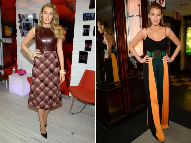 Two of the outfits Blake Lively wore in her fashion marathon.
