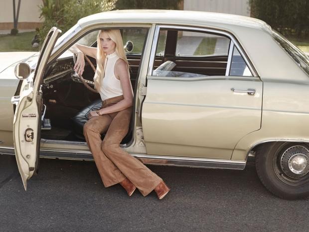 Lara Stone poses in the new H&M autumn campaign.
