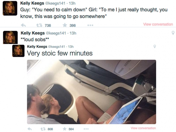 Kelly Keegs live tweeted this plane break up.
