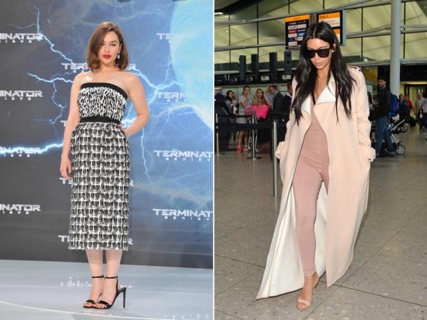 Emilia Clarke (L) and Kim Kardashian (R) in Balenciaga
