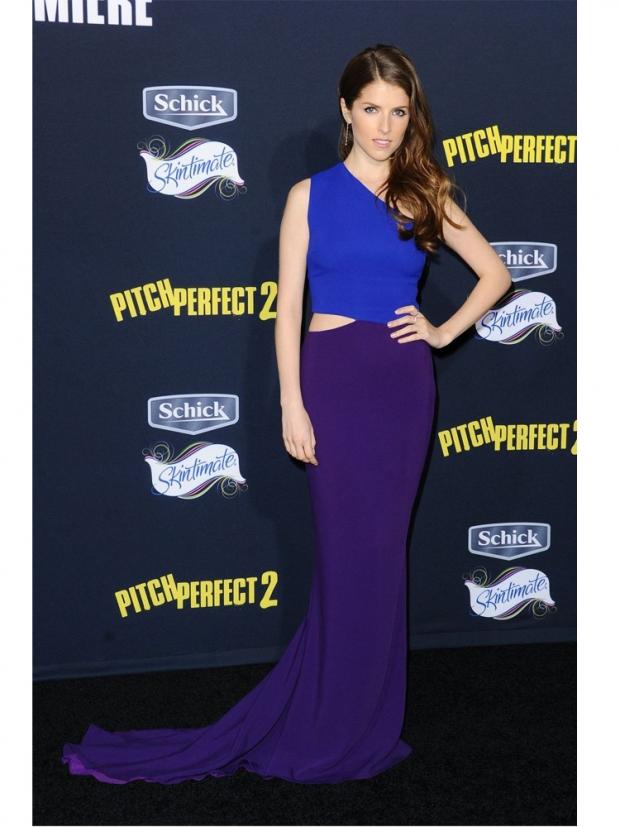 Anna Kendrick wearing blue and purple Stella McCartney