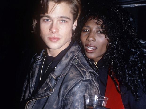 Brad Pitt with then girlfriend, Sinitta.
