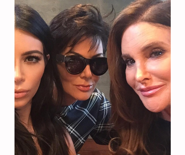 Caitlyn and Kris Jenner posing for a selfie