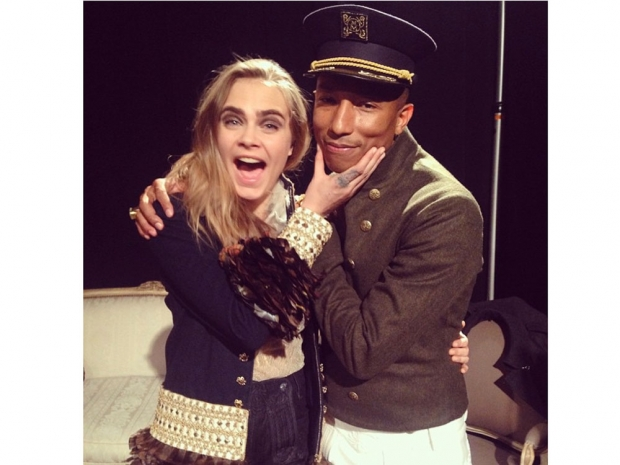 Cara and Pharrell Williams on Instagram