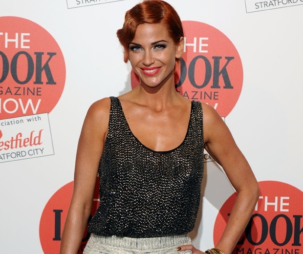 Sarah Harding at LOOK event with red hair