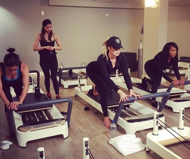 Khloe Kardashian working out
