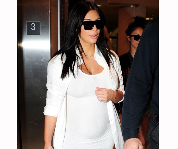 kim kardashian pregnant in white dress