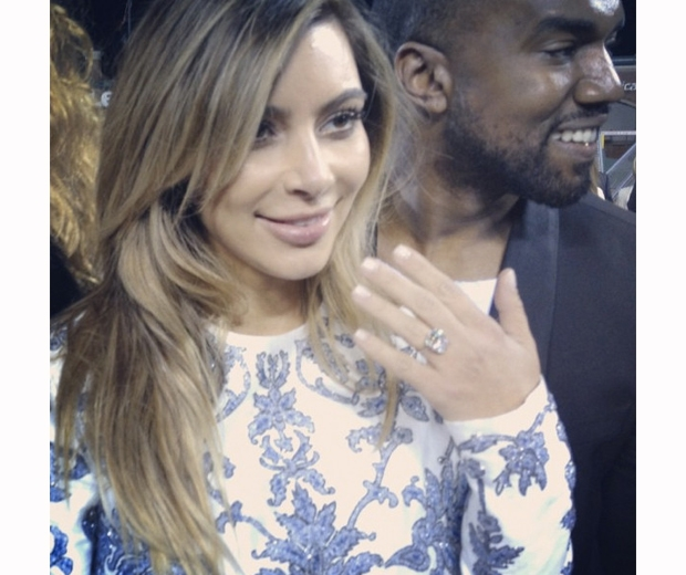 Kim Kardashian announces her engagement on Instagram