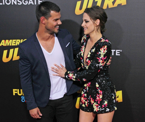 taylor lautner and kristen stewart at american ultra premiere