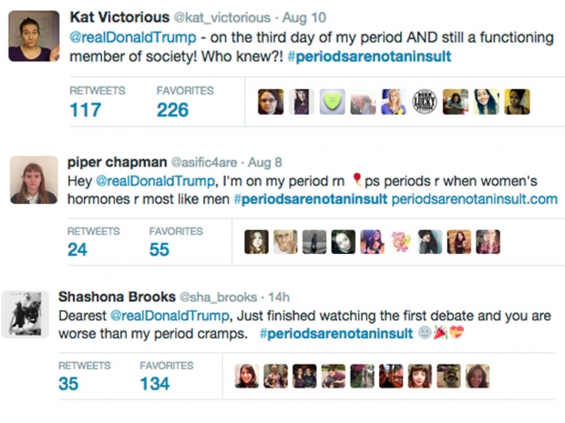 Examples of women live tweeting their periods at Donald Trump.