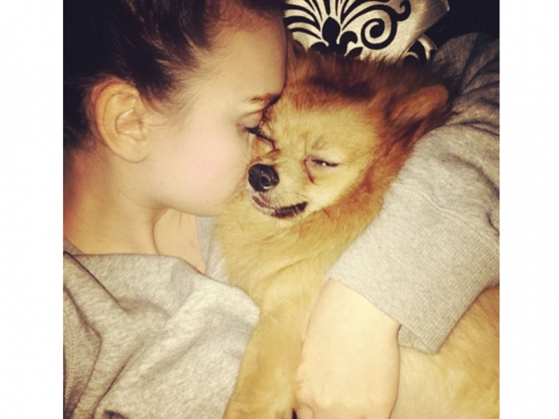 Perrie Edwards and her dog Hatchi