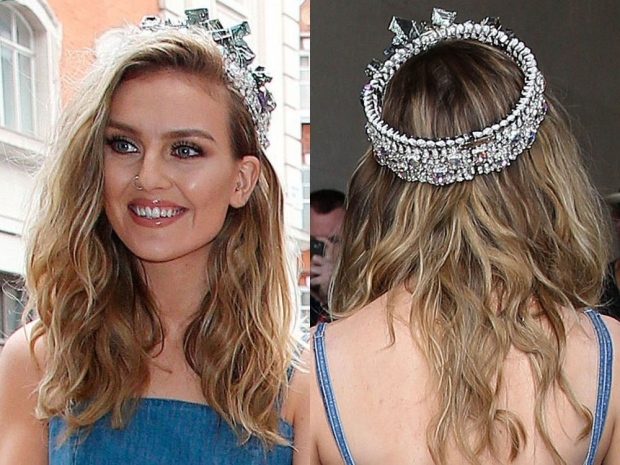 Perrie Edwards wearing a crown in London